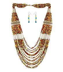Multicolor Stone Bead Tibetan Necklace and Earrings