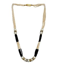 White and Black Bead Necklace