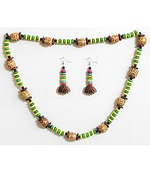 Wooden Beads with Natural Seed Necklace Set