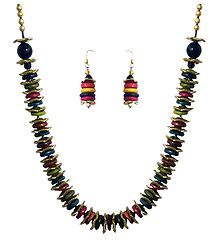 Multicolor Wheel Beads Necklace and Earrings