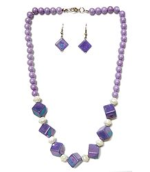 Buy Acrylic Mauve Bead Necklace with Earrings