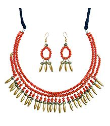 Metal and Bead Necklace Set