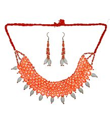 Saffron and White Beaded Necklace and Earrings
