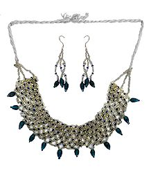 White and Dark Cyan Beaded Necklace and Earrings