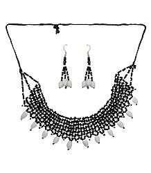 Black with White Bead Necklace and Earrings