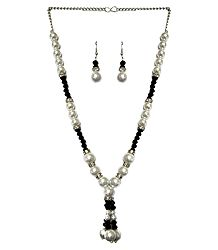 White and Black Bead Necklace with Earrings