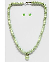 Light Green Bead Necklace with Earrings