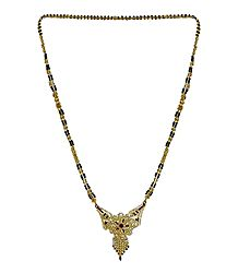 Black Beaded and Gold Plated Mangalsutra with Stone Studded Pendant