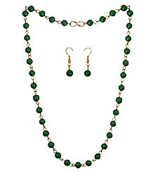 Green Bead Necklace with Earrings