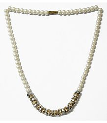 Faux Pearl, Crystal Bead and White Stone Studded Necklace with Earrings