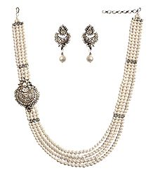 Faux Pearl Bead and Zirconia Necklace Set
