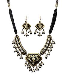 Black Bead Necklace with Meenakari Pendant and Earrings