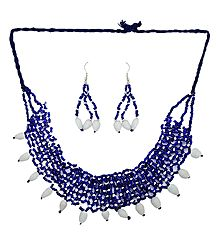 Blue and White Bead Necklace and Earrings