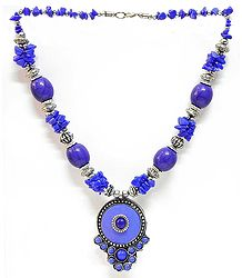 Blue and Mauve Stone Bead Tibetan Necklace
