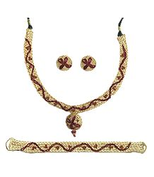 Beige with Maroon Braided Jute Necklace with Earrings and Bracelet