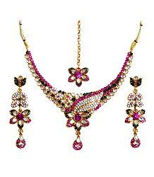 Buy Stone Studded Kundan Necklace Set with Mang Tika