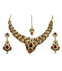 Stone Studded Adjustable Necklace Set with Mang Tika