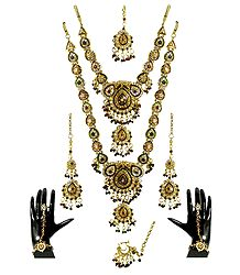 Faux Citrine, Cubic Zirconia Twin Necklace Set with Mang Tika and Ring Bracelet