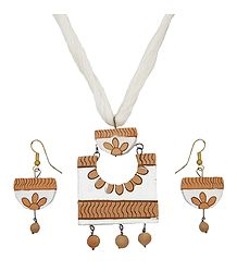 Terracotta Necklace with Hand Painted Pendant and Earrings