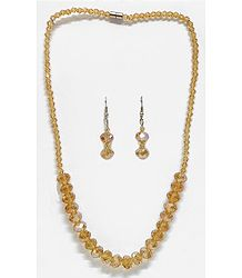 Light Brown Crystal Bead Necklace with Earrings