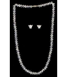 White Stone Studded Crystal Necklace