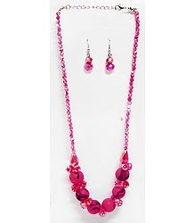 Pink Crystal Bead Necklalace with Earrings