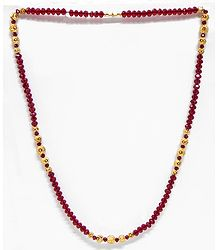 Red Crystal and Carved Gold Plated Bead Necklace