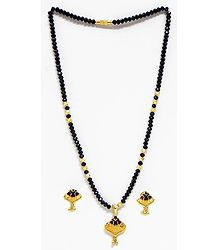 Black Crystal and Gold Plated necklace with Earrings