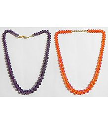 Dark Purple and Dark Saffron  Crystal Bead Necklace