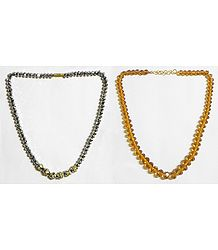 Dark Grey and Chrome Yellow   Crystal Bead Necklace