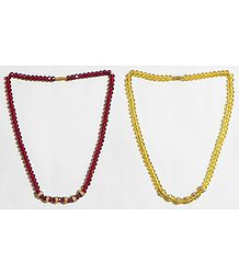 Maroon and Yellow Crystal Bead Necklace