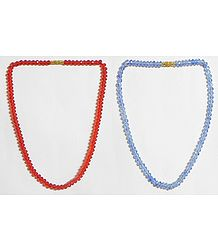 Red and Blue Crystal Bead Necklace