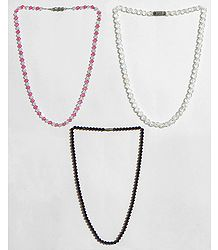 Pink with White, White and Maroon Crystal Bead Necklace