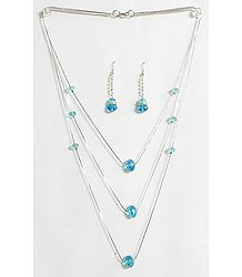 Cyan Blue Crystal Bead Three Layer Necklace