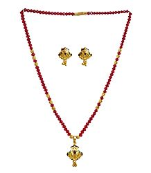 Red Crystal and Gold Plated Bead Necklace Set