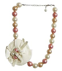 Off-White and Peach Beaded Necklace with Cloth Flower