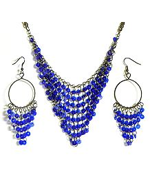 Blue Sequined Jhalar Necklace with Earrings