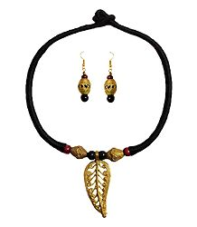 Dokra Necklace with Leaf Pendant and Earrings