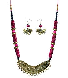 Bead Necklace with Brass Dokra Pendant