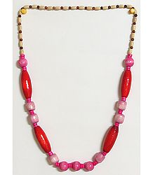 Divine Femininity - Dark Pink and Dark Red Wooden Bead Necklace