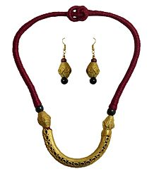 Shop Online Dokra Hansuli Necklace Set