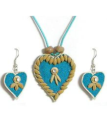 Blue Corded Heart Pendant and Earrings Decorated with Off White Wooden Beads and Paddy Rice