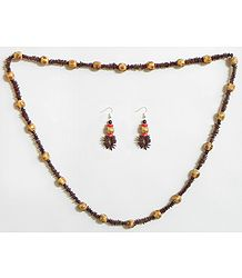 Beige and Dark Brown Wooden Beads with Natural Seed Necklace and Earrings