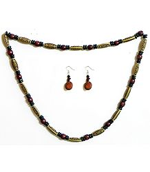 Beige with Maroon Wooden Beads and Natural Seed Necklace and Earrings