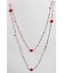 Fire and Ice - Red and White Bead Necklace
