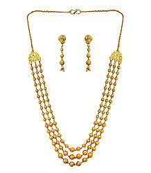 Gold Plated 3 Layer Necklace with Earrings