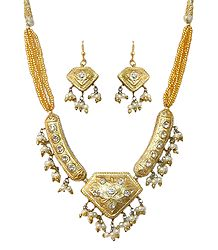 Golden Bead Necklace with Meenakari Pendant & Earrings