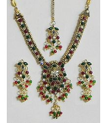 White, Maroon and Green Stone Studded Necklace Set with Mang Tika