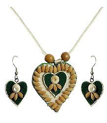 Beige Corded Heart Pendant and Earrings Decorated with Off White Wooden Beads and Paddy Rice