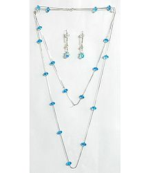 Cyan Blue Crystal Bead Necklace Set